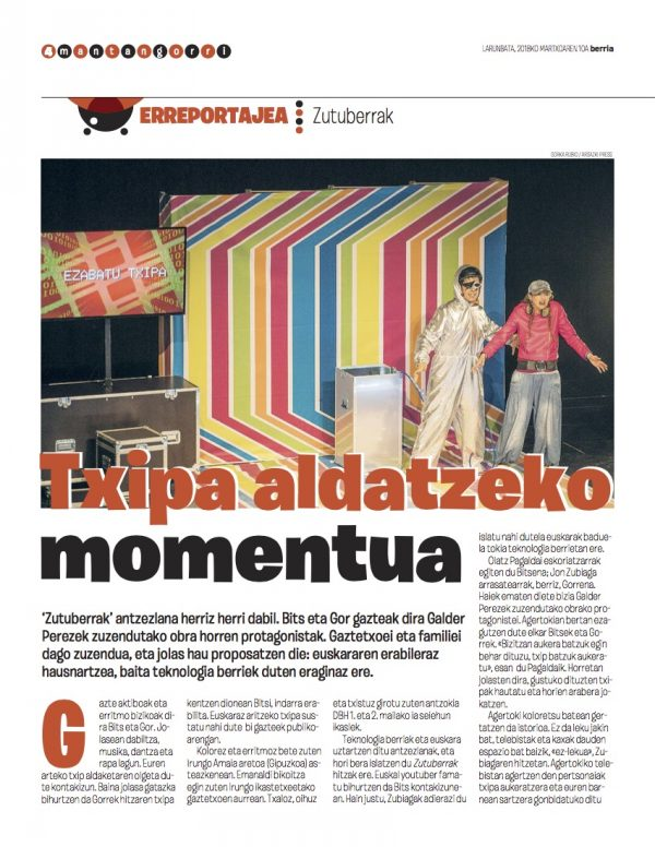 Teatro en euskera para familias en euskera de la compañía eidabe de Bizkaia